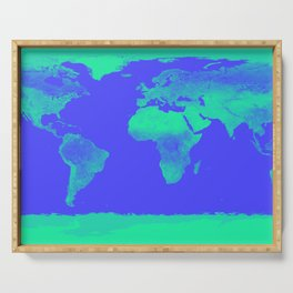 World Map Periwinkle Blue Mint Serving Tray