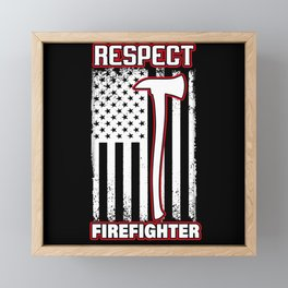 Respect Firefighter Usa Flag American Vintage Framed Mini Art Print
