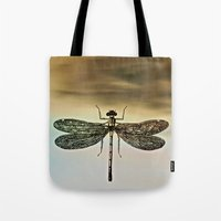 dragonfly Tote Bags featuring DRAGONFLY  by Pia Schneider [atelier COLOUR-VISION]