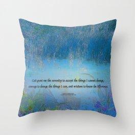 Serenity Prayer Blue Marsh Throw Pillow