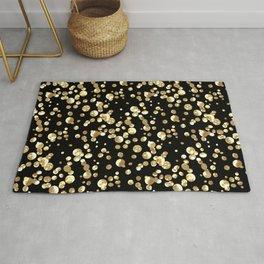 Golden confetti. Brilliant . Rug