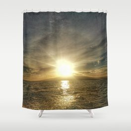 Sunset on Maui by boat Shower Curtain