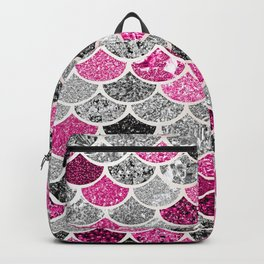 Pink, Silver and Cranberry Mermaid Scales Pattern Backpack