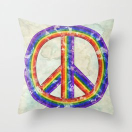 Rainbow Pride Peace Throw Pillow