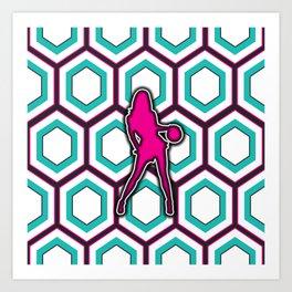 Girls Basketball Team Sports Design Pattern Art Print