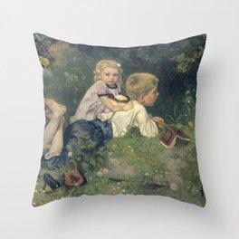 The Butterflies - August Allebé (1871) Throw Pillow