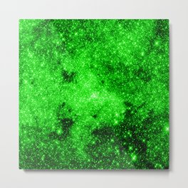 galaxy Stars 3 Bright Green Metal Print