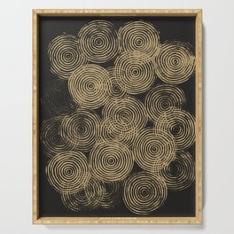 Radial Block Print in Charcoal and Gold Serving Tray