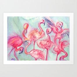 Flamingoes Dance Art Print