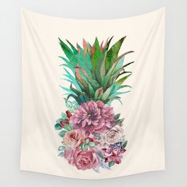 Floral Pineapple Wall Tapestry