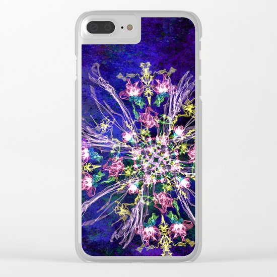 Abstract delicate silk flowers Clear iPhone Case