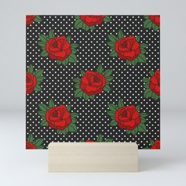 Rockabilly style roses on white polka dots pattern Mini Art Print