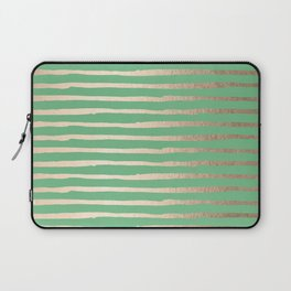 Abstract Stripes Gold Tropical Green Laptop Sleeve