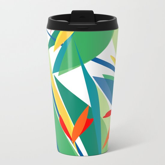 Tropical floral composition, exotic flowers, birds of paradise. Metal Travel Mug