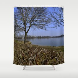 Looking at a lake in Laupheim Shower Curtain