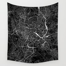 Rome Black Map Wall Tapestry