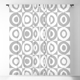 Mid Century Square and Circle Pattern 541 Gray Blackout Curtain