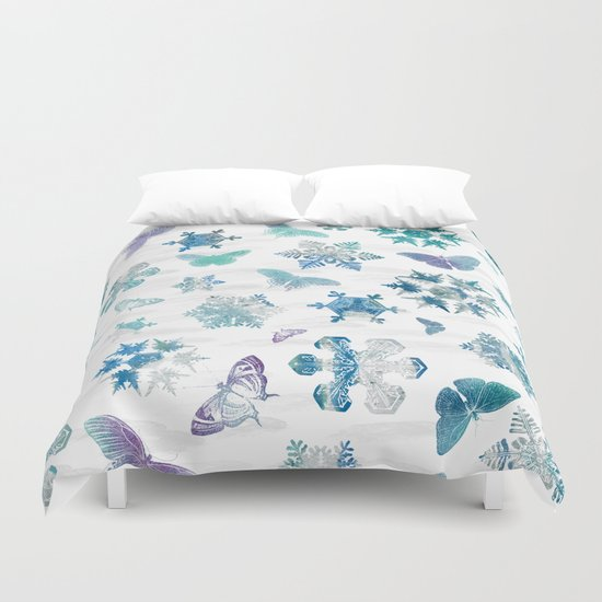 Snowflakes and Butterflies Duvet Cover