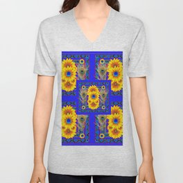 BLUE PEACOCK  SUNFLOWERS DECO JEWELED ABSTRACT Unisex V-Neck