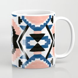 Geometric Aztec - coral and lapis Coffee Mug