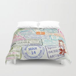 Vintage World Map with Passport Stamps Duvet Cover