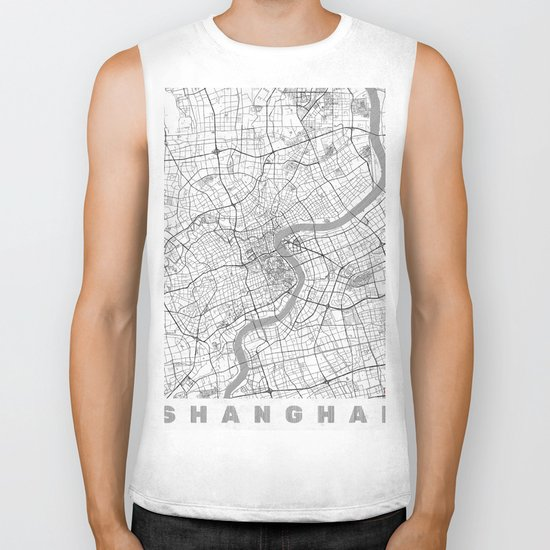 Shanghai Map Line Biker Tank