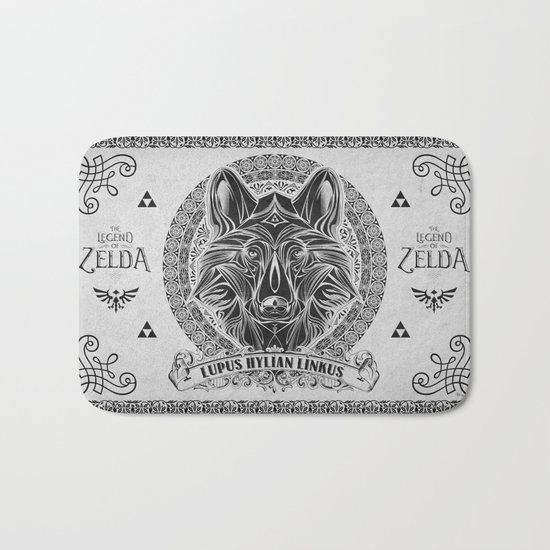 Legend of Zelda Twilight Wolf Link Line Art Bath Mat