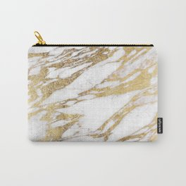 Chic Elegant White and Gold Marble Pattern Carry-All Pouch
