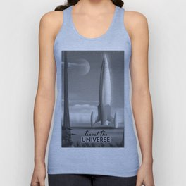 Travel The Universe Limited Edition mono print Unisex Tank Top