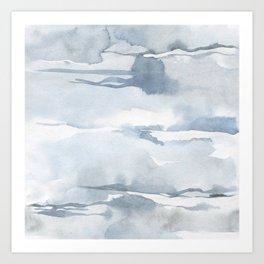 Pastel blue gray abstract watercolor brushstrokes stripes pattern Art Print