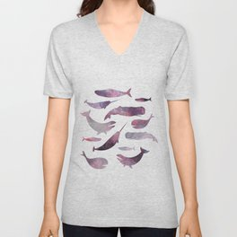 pink narwhale, narwhales art, purple whale, watercolour art Unisex V-Neck