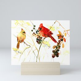 Cardinal Birds and Berries Mini Art Print