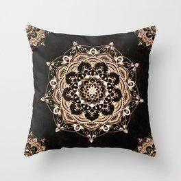 Glowing Spirit Black White Mandala Design Throw Pillow