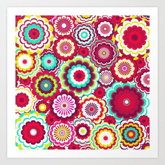 Bright Flower Dash Art Print