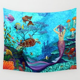 A Fish of a Different Color - Mermaid and seaturtle Wall Tapestry