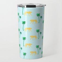 Animal Print Yellow Cheetah under Green Palm Trees on Muted Blue Background Travel Mug