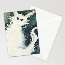 Frosty Whimsical White Cat Stationery Cards