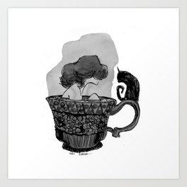 A cat of tea Art Print
