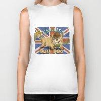 english bulldog Biker Tanks featuring English Bulldog by Brian Raszka Art & Illustration