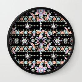 Folkloric Snowflakes Wall Clock