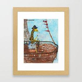 Captain Giraffe Framed Art Print
