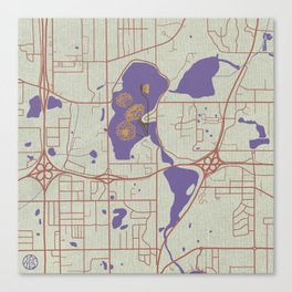 Little Canada Map with Dahlias Canvas Print