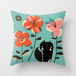 SQUIRREL & FLOWERS Throw Pillow