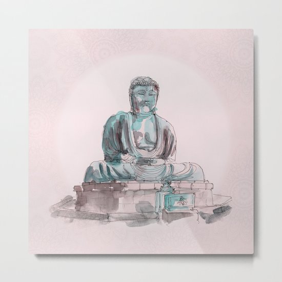 Peace and Harmony watercolor buddha pastel illustration Metal Print