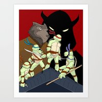 tmnt Art Prints featuring TMNT by SquidInkDesigns