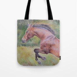 A brown horse jumping on a green meadow Pastel drawing Animal Art in the landscape Tote Bag