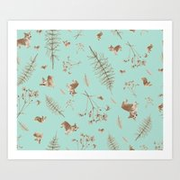 icy blue holiday corgis and twigs Art Print