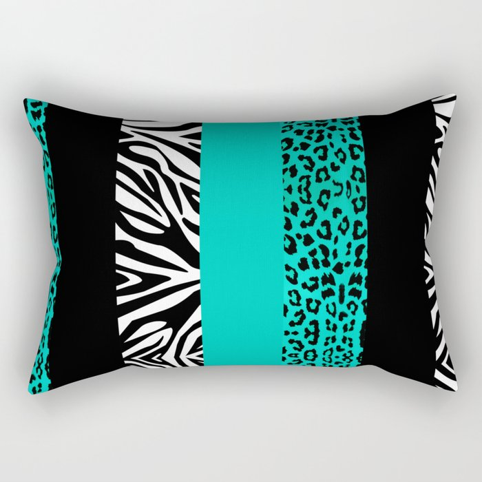 Teal Leopard and Zebra Animal Print  Rectangular Pillow