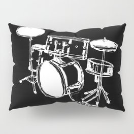 Drum Kit Rock Black White Pillow Sham