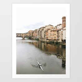 Rowing on the Arno Florence Art Print